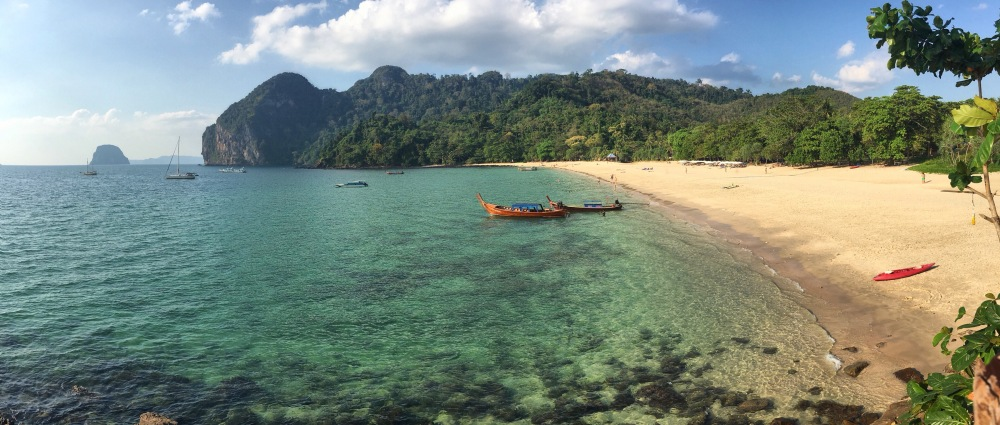 Long Tail Boat panorama, Koh Muk, Thailande